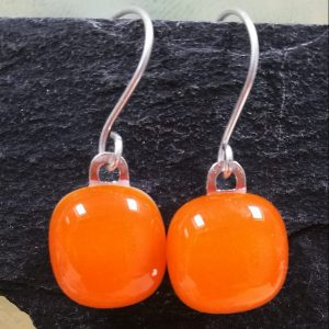 tangerine fused glass drops