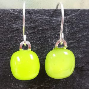 lime fused glass drops