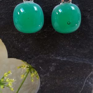 emerald fused glass drops