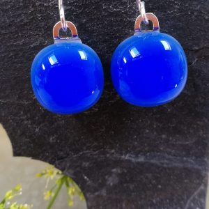cobalt fused glass drops