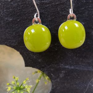 moss fused glass drops