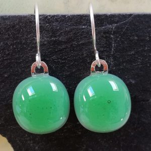 leaf green fused glass drops