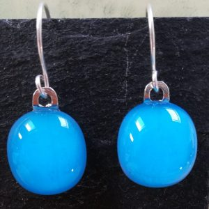 sky blue fused glass drops