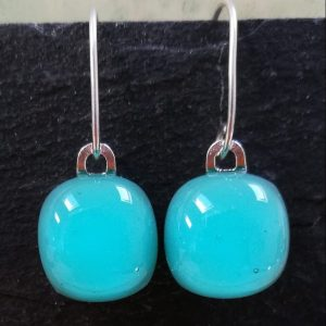 aqua fused glass drops