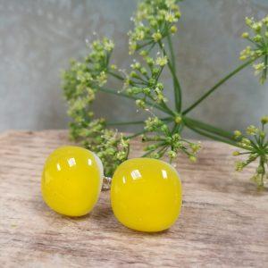 lemon fused glass studs