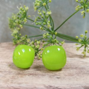 Lime fused glass studs