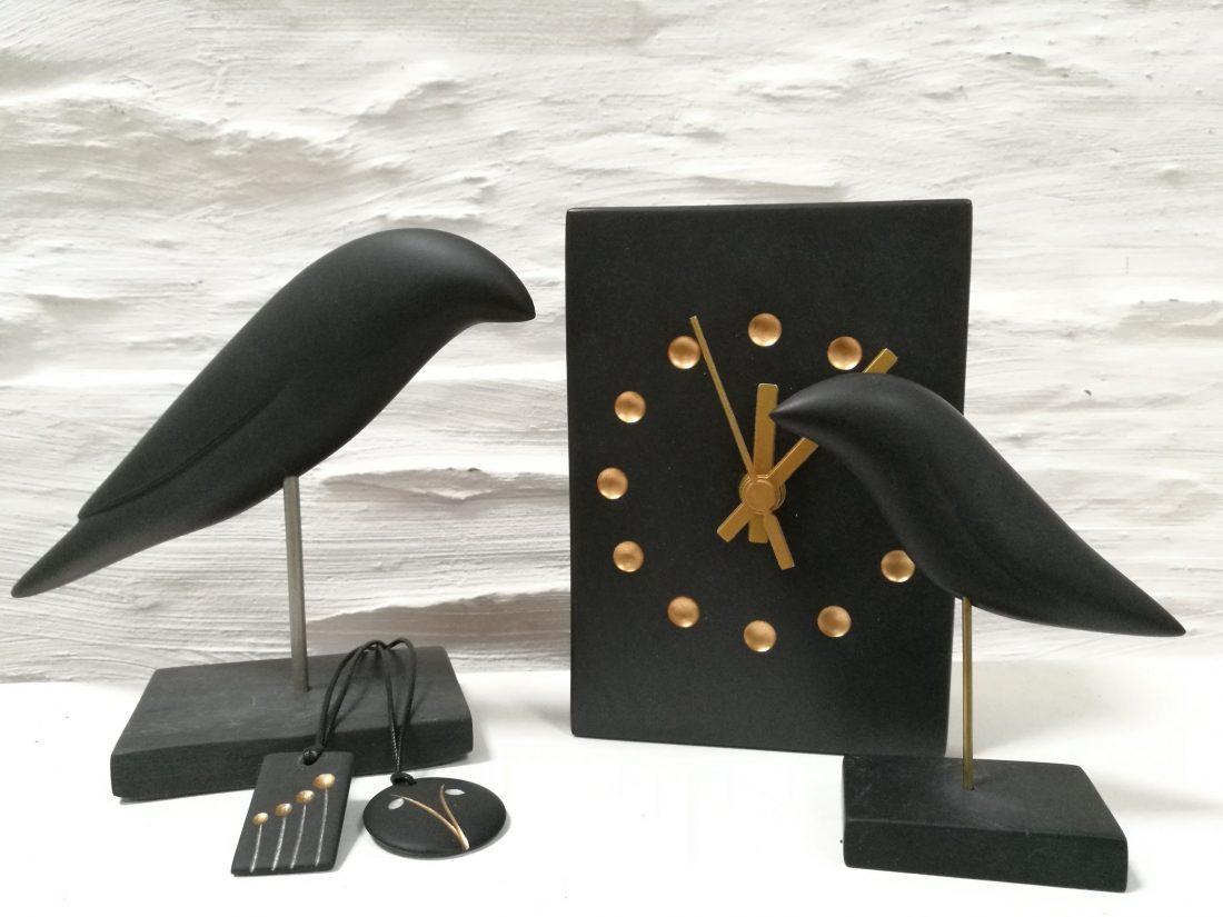 Welsh slate sculpture, jewellery and clocks